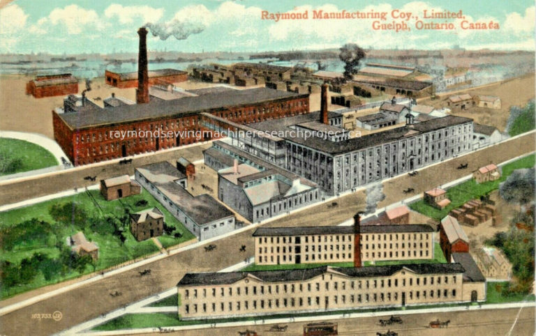Artist rendition of the Raymond Sewing Machine company